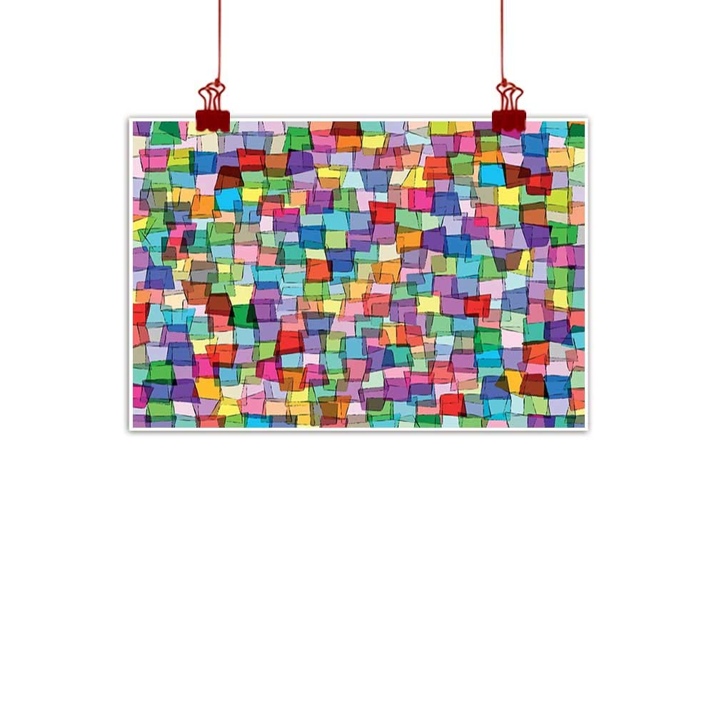 color01 48\ Mangooly Wall Art Painting Print Abstract,Mosaic Inspired Tile Pattern with colorful Squares Cubes Energetic Artistic Design,Multicolor for Bedroom Office Homes Decorations