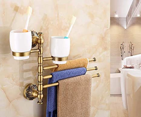MKFG Productos de baño, Soporte de Taza de Cepillo de Dientes Doble de baño Cobre