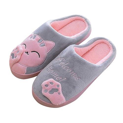 OHQ Zapatillas De Estar por Casa Mujer Invierno Dibujos Animados Gato Antideslizante CáLido Interior Dormitorio Zapatos De Piso: Amazon.es: Zapatos y ...