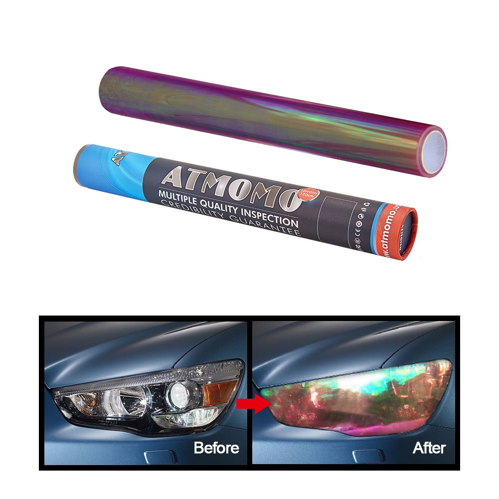 ATMOMO Transparent 12 by 48 inches Self Adhesive Shiny Chameleon Headlights Films, Film Sheet Sticker, Tint Vinyl Film