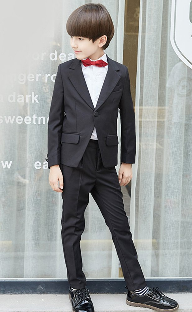 SK Studio Boys' 5 Pieces Wedding Solid Color Dress Formal Suits Black by SK Studio (Image #3)