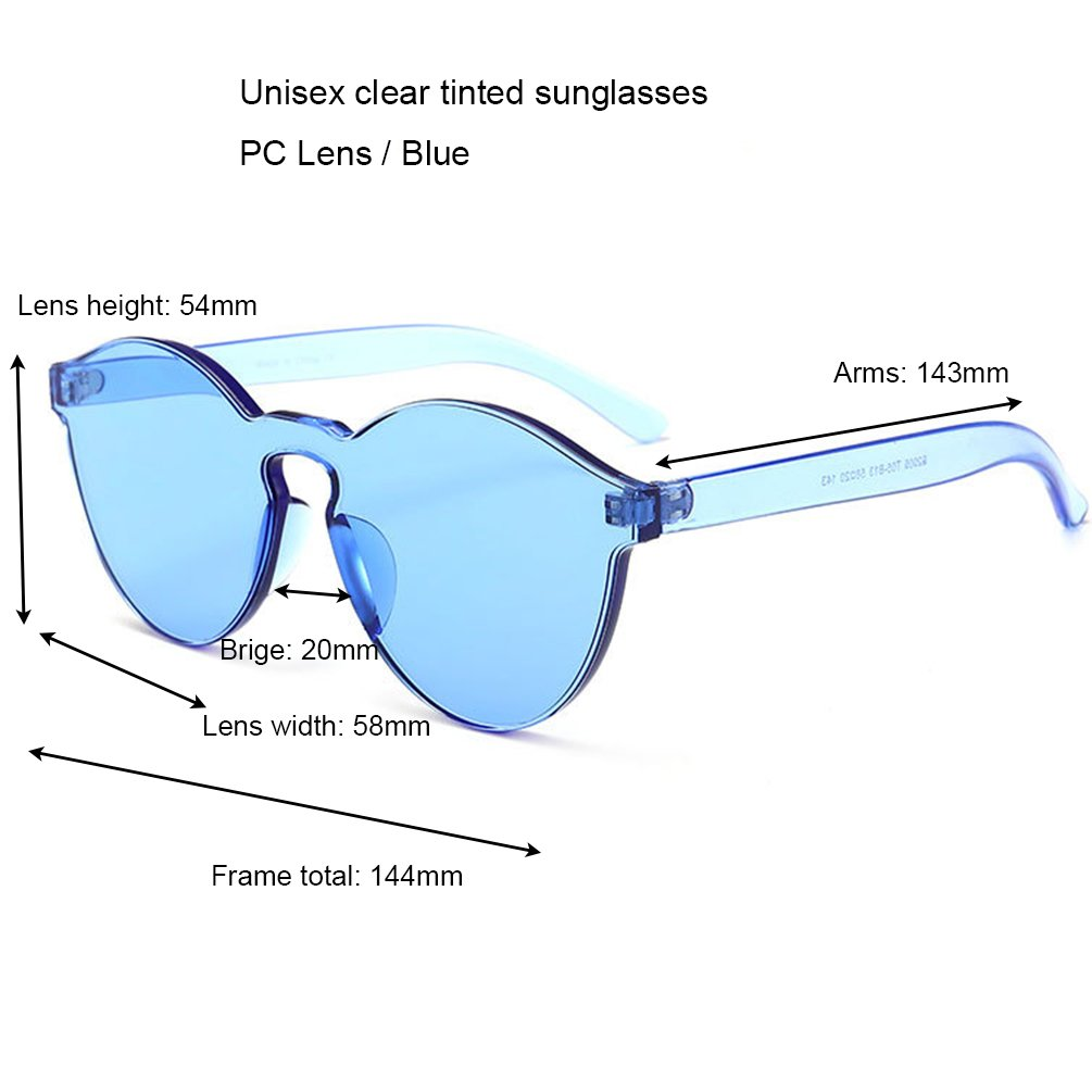 7d99154b4ad Amazon.com  Armear Oversized One Piece Rimless Tinted Sunglasses Clear Colored  Lenses (Blue