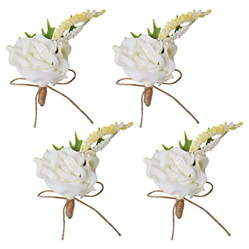 Amazon 4pcs wedding prom groom calla lily boutonniere white 4pcs wedding prom groom calla lily boutonniere white rose flower corsage pins set for men mightylinksfo