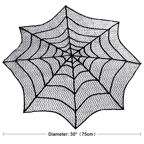 Hecentur Lace Spider Web Halloween Tablecloth 30-Inch Round Table Topper, Black Spider Web - Perfect for Halloween, Dinner Parties and Scary Movie Nights ()