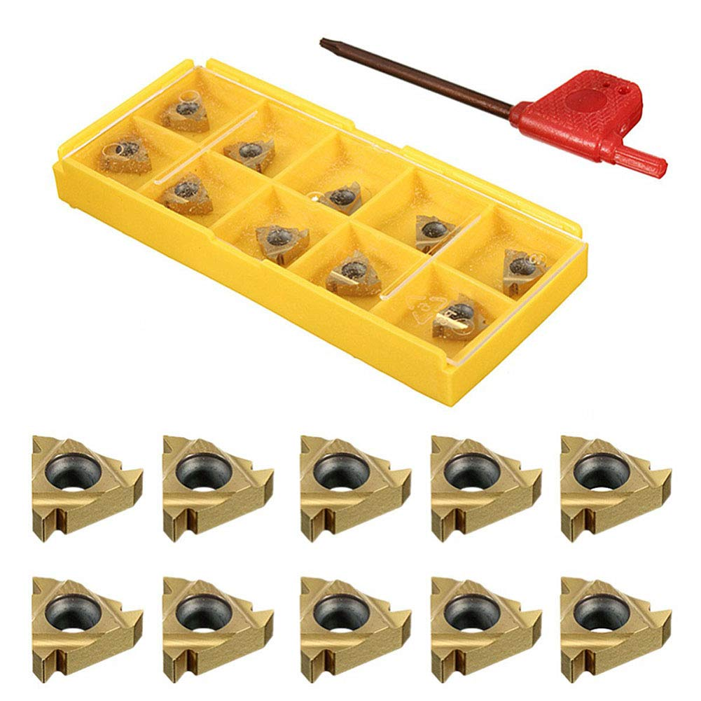 Yeshai3369 Set of 10 11IR A60 CNC CNC Lathe Indexable Solid Carbide Turning Insert Blades with Wrench for Threading Turning Tool