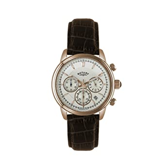 217f3037d0b7 Rotary Men s Quartz Watch with White Dial Chronograph Display and Brown Leather  Strap GS02879 06