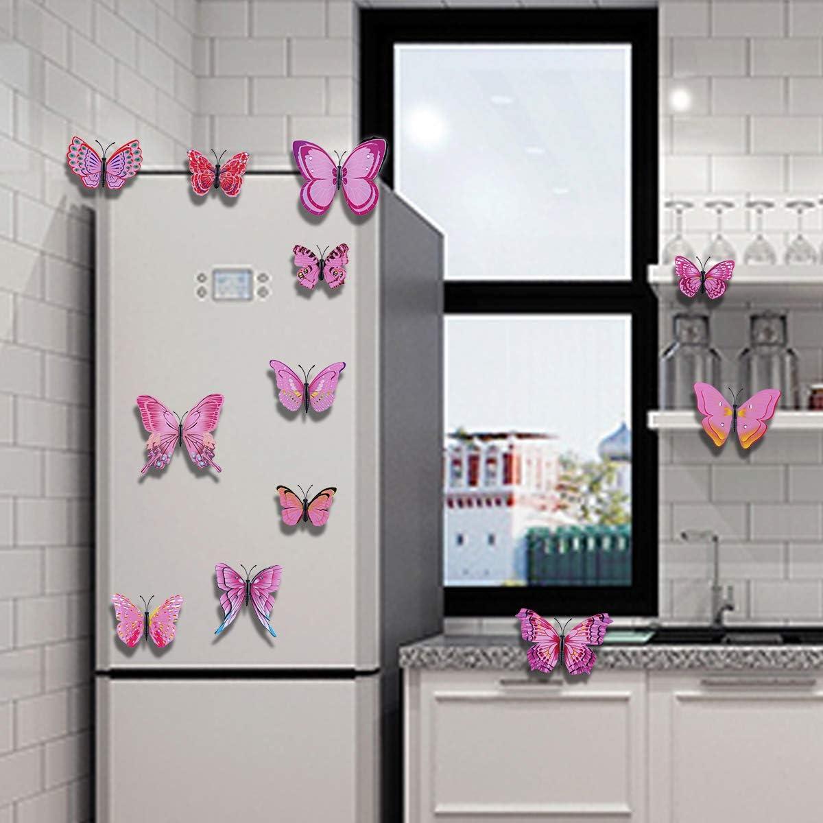 Derbway 12 Pieces 3D Butterflies Wall Stickers,Double 3D Wings,DIY Wall Decoration Crafts Butterflies for Kids Room,Party Decor,Garden Plants Decor Purple