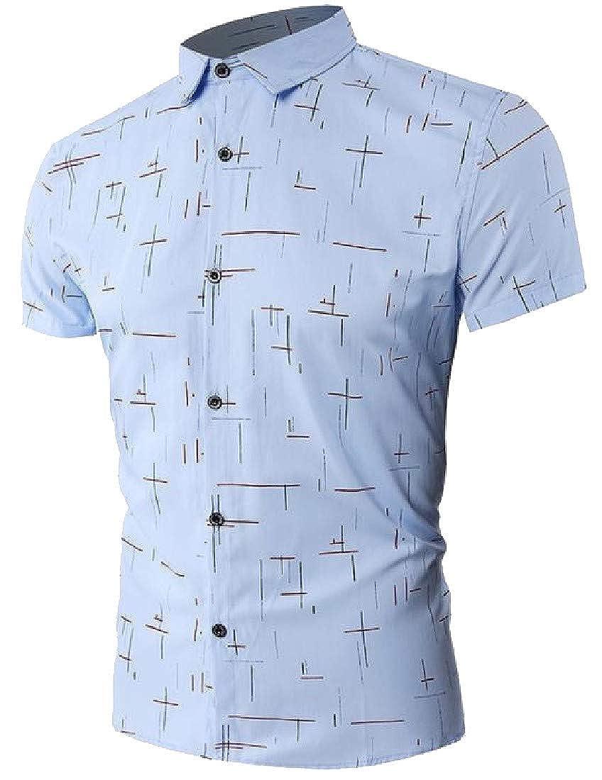 pipigo Mens Floral Print Curved Hem Lapel Neck Vintage Button Down Shirts