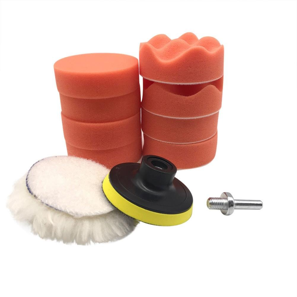 10Pcs 3 inch Buffing Pad Kit for Polishing Wheel Auto Car for Drill Adapter polisher cloth sponge block LHWY