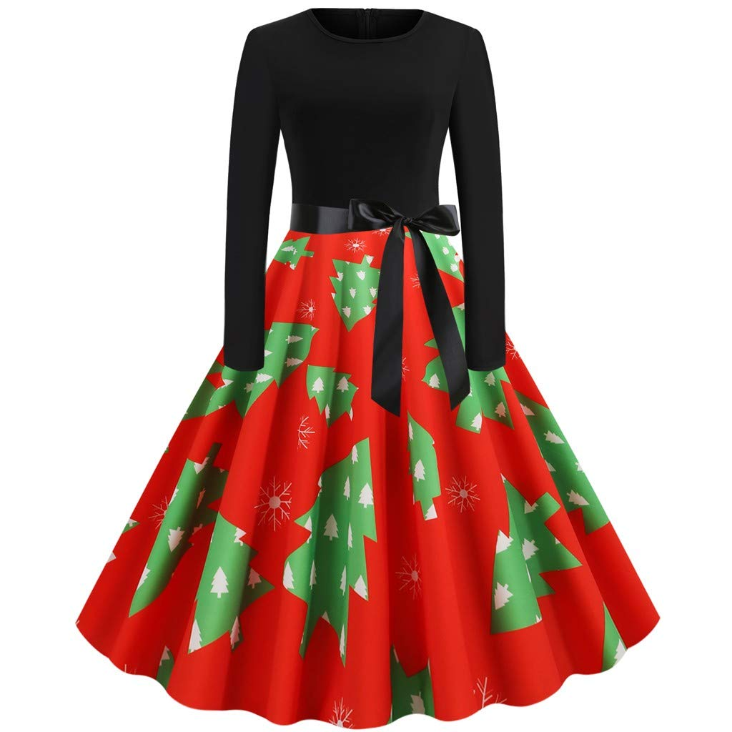 RINKOUa Casual Christmas Dress for Women, Women Fashion Christmas Print Dress Round Neck Zipper Hepburn Party DressChristmas Dresses by RINKOUa