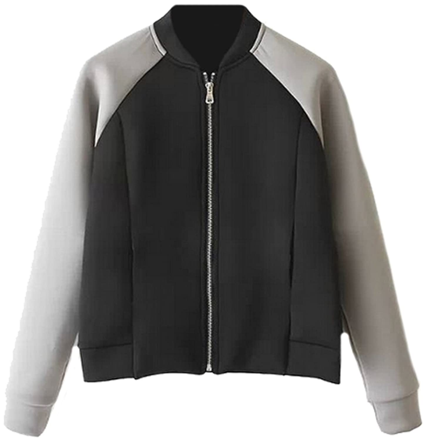 KXP Womens Vouge Autumn Spliced Zipper-up Slim Bomber Jackets