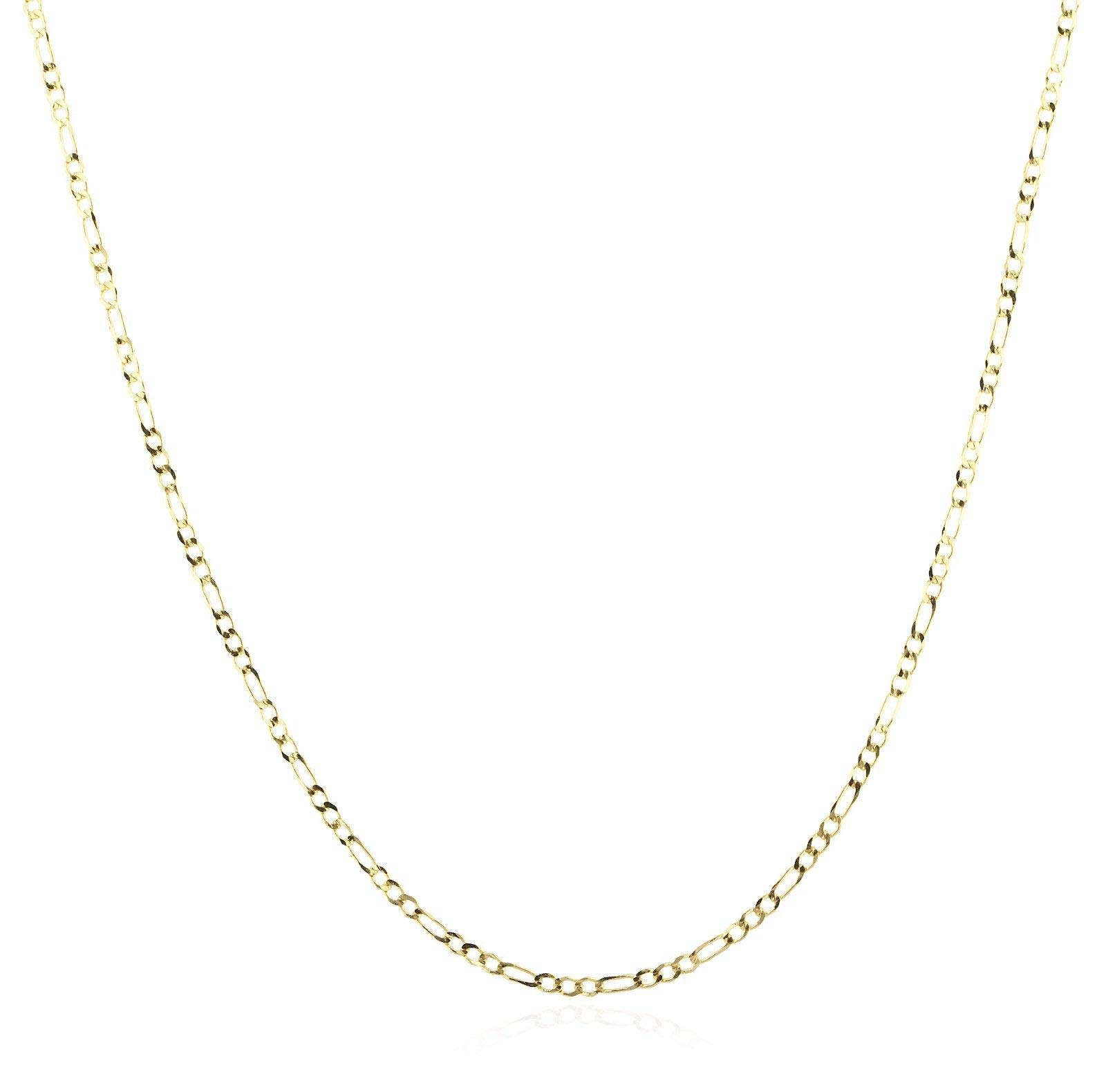 14K Gold 2.0mm Figaro/3+1 Link Chain Necklace- Made in Italy - Multiple Colors and Sizes Available (Yellow, 22)