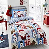 Happy Linen Co Santa Patch Christmas Boys Girls Single Duvet Cover Bedding Set