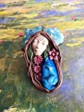 Goddess Clay Pendant made with a sparkly druzy geode. Includes adjustable necklace (suede cord). Healing, nurturing and grounding. -Measures Aprox 3 inches (see picture with ruler) Goddess Gaia (Rhea/Terra) - The great mother of all, the prim...