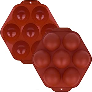 Silicone Mold,Chocolate Bomb Mold,for Making Jelly,Pudding,Ice Cubes,Mousse,7 Holes Hemisphere Mold,Food-Grade Silicone Cake Mold and Easier to pop out(2Count)