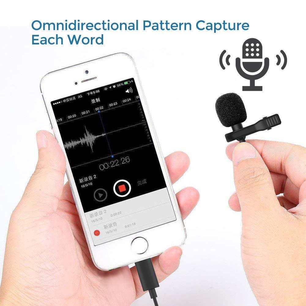 Microphone /à Cravate omnidirectionnel /à Cravate avec syst/ème de Fixation Facile pour iPhone X XR XS Max 8 8plus 7 7plus 6 6s 6plus 5 1,5 m iPad Microphone Professionnel