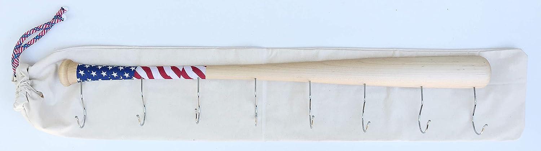 f5782db3b46b7 KT Bats Wall Mounted Hanging Hardwood Baseball Bat Hat Coat Jersey & Cap  Rack Display: Useful & Unique Gift Idea for Baseball Lovers or The Perfect  Hallway ...