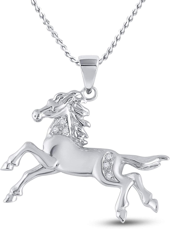 10K oro blanco para mujer diamante redondo caballo Mare Animal grande colgante de Fine 1/20quilates