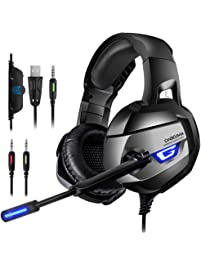 PS4 Gaming Headset - ONIKUMA Gaming Headset with 7.1 Surround Sound, Xbox One Headset with Noise Canceling Mic LED Light...