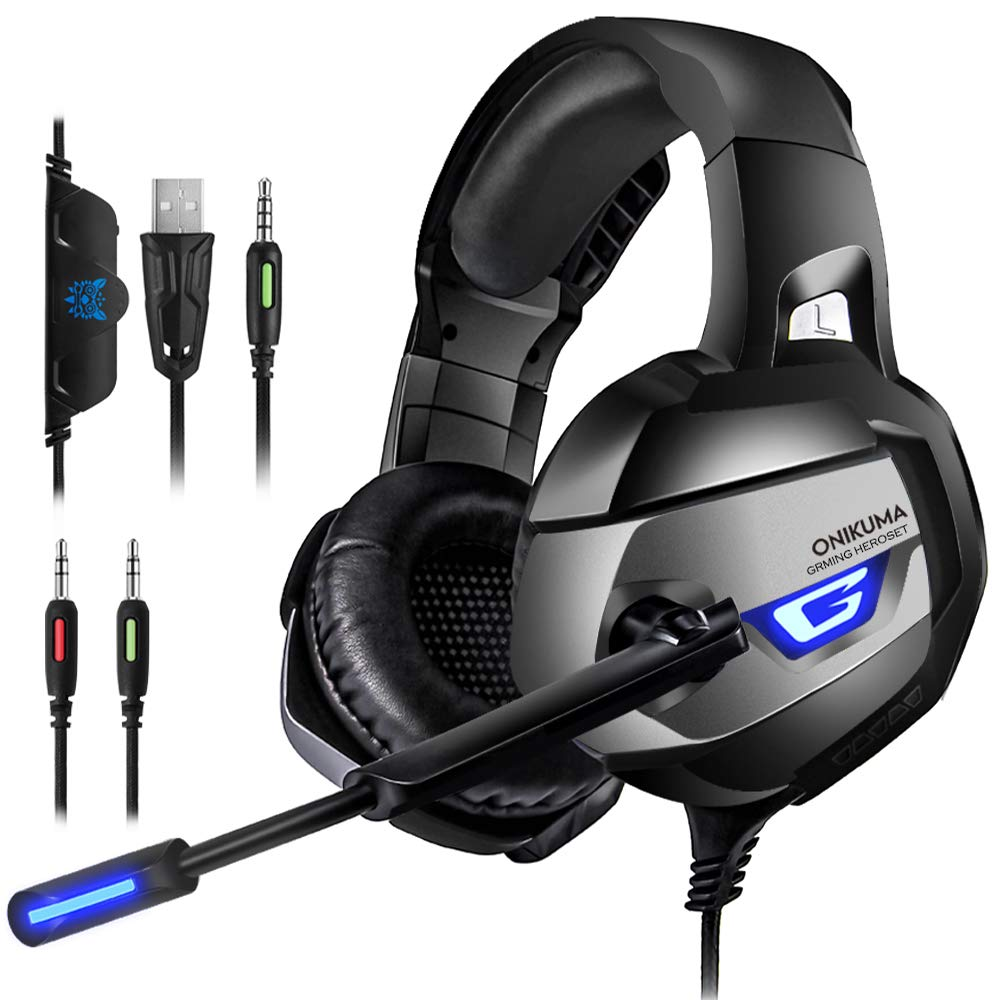 ONIKUMA Gaming Headset for PS4, PS4 Gaming Headset with 7.1 Surround Sound, Xbox One Headset with Noise Canceling Mic LED Light, Over-Ear Headphones for PS4, Xbox One, PC, Mac, Laptop, Nintendo Switch by ONIKUMA