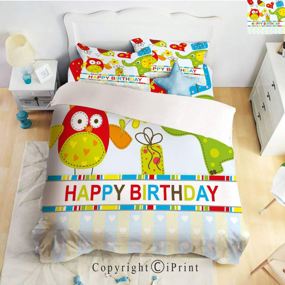 Homenon Luxury 4-Piece Bed Sheet,Hide Zipper Closure,Patchwork Design Owls Birds Hearts and Boxes Party Theme Art,Multicolor,King Size by Homenon