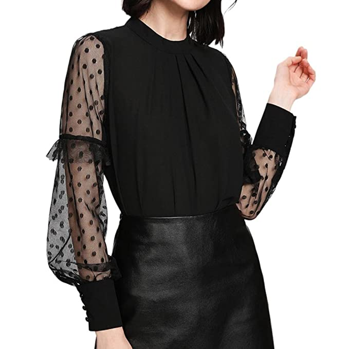 674f20f36a3f68 Hot Sell Sexy T-shirt Leyorie Fashion Women Lace Tops Shirt Pleated Neck  TEE Dot