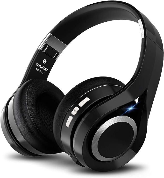 ELEGIANT Cascos Bluetooth 5.0 Inalámbricos, Auriculares Bluetooth Diadema con Micrófono CVC 6.0 Cancelación Ruido Manos Libre Sonido Nítido Estéreo 16H de Duración para TV Móviles IOS Android, Negro: Amazon.es: Electrónica