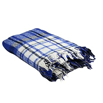 Extra Heavy Twin Size Brushed Plaid Reversible Mexican Yoga Blanket (1 Piece) Made of 100% Recycled Fibers by Yogavni(TM)