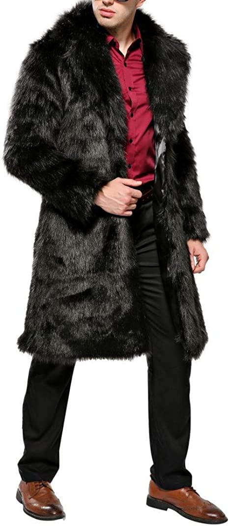 Hankyky Mens Warm Overcoat Thick Coat Jacket Faux Fur Parka Outwear Cardigan Slim Fit Top