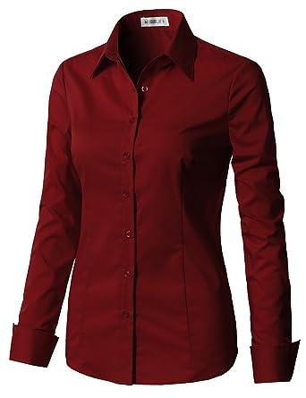 CLOVERY Women s Basic Simple Long Sleeve Slim Fit Button Down Shirt  Burgundy XS b28051b2c