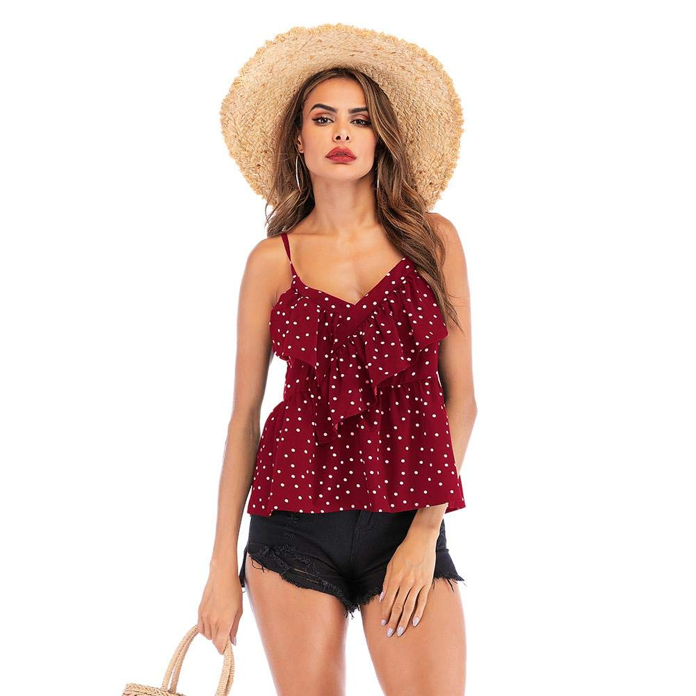 Occitop Summer Polka Dot Chiffon Tops V Neck Women Ruffle Spaghetti Strap Blouse