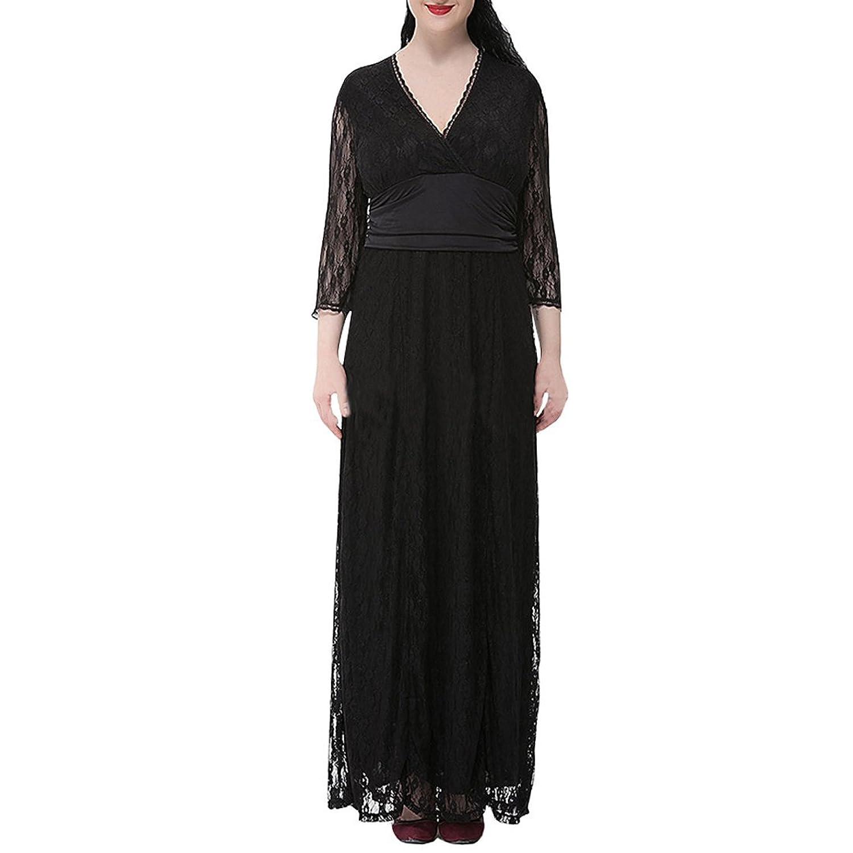 Partiss Damen Frauen Lace V-Ausschnitt Plus Size Blumen Spitzen Langarm Sommer Kleid Dress
