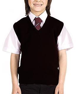 New School Uniform V Neck Tank Top Kids Knitted Sleeveless Jumper Top Schoolwear