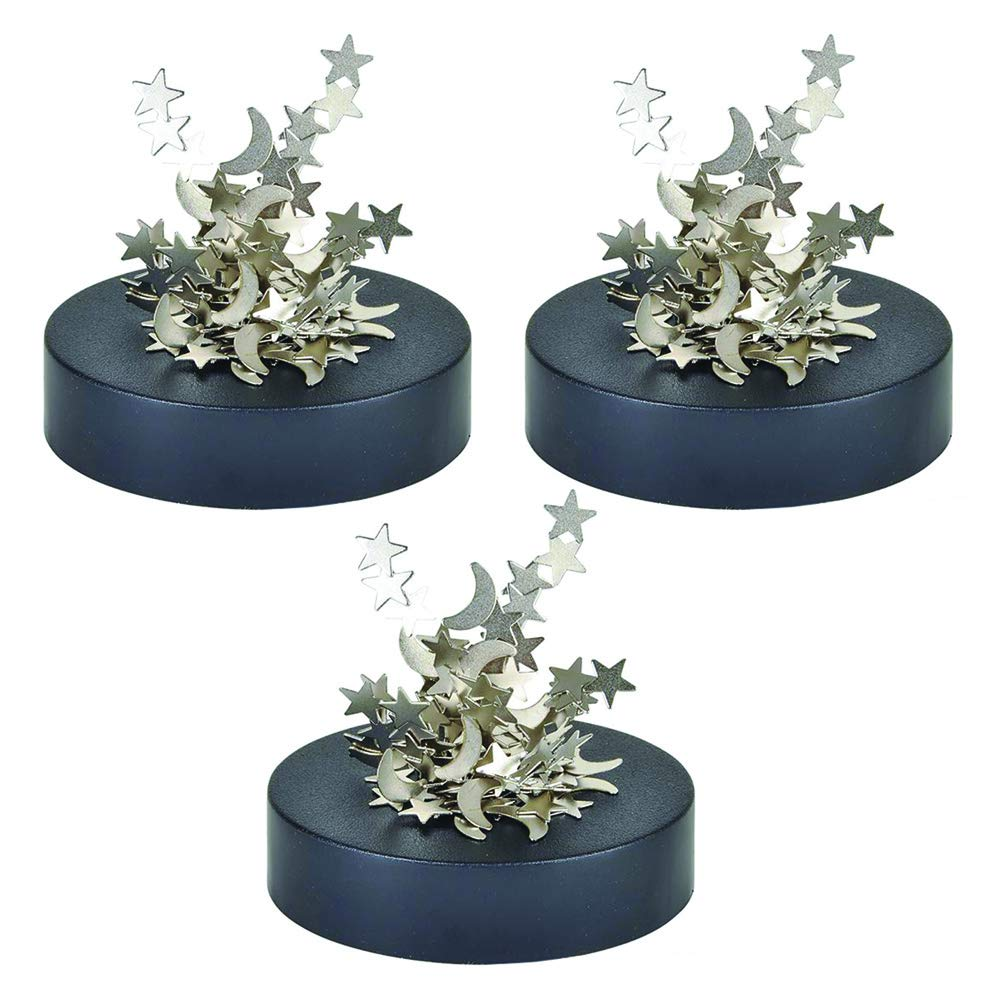 Kicko Magnetic Stars and Moons Sculpture - Set of 3 Cosmic Fidget Desk Toy - Ideal House, School and Office Decoration, Educational Toy by Kicko