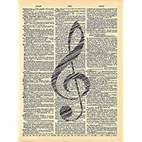 Dictionary Print, Musical Note Vintage Dictionary Art Print 8x10 inch Home Vintage Art for Home Decor Wall Decorations For Living Room Bedroom Office Ready-to-Frame