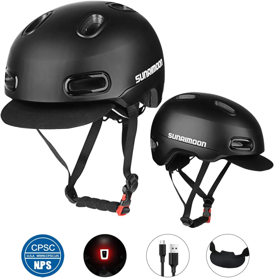 SUNRIMOON Bike Helmet – Rechargeable USB Safety Taillight Anti-Theft Design Detachable Adjustable Soft Hat Retro Sleek Urban Leisure Road Bicycle Cycling Helmet for Adult Men Women – 21.25-24 Inches