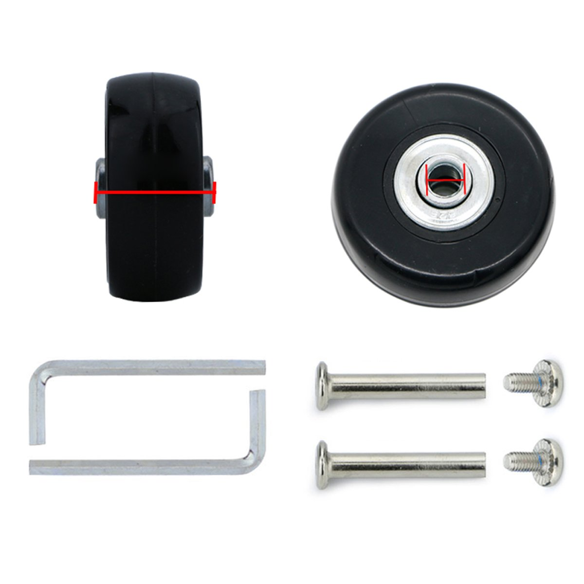 Super Ma 2 Set of Replacement Luggage Suitcase Wheels with Bearings & tools (50x22)