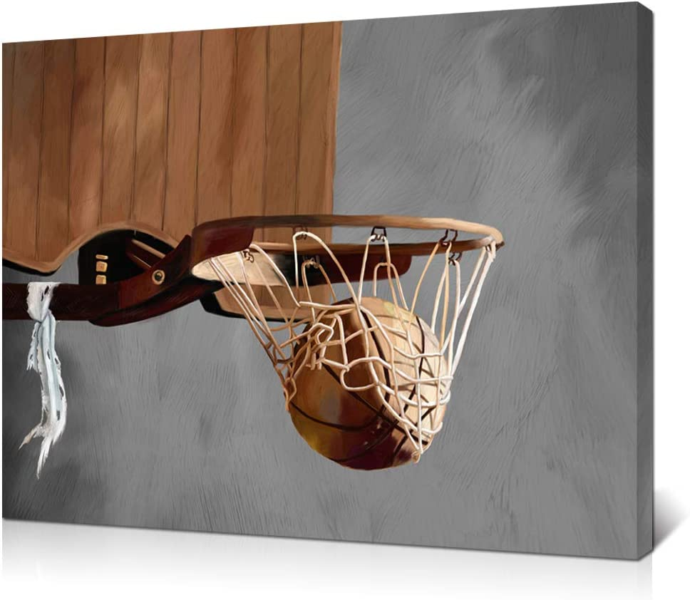 LoveHouse Rustic Basketball Painting Print Sports Theme Canvas Wall Art Basketball Going Through Basketball Hoop Vintage Decor for Boy Room Play Room Gallery Wrap Stretched Ready to Hang 24x32inch ¡­
