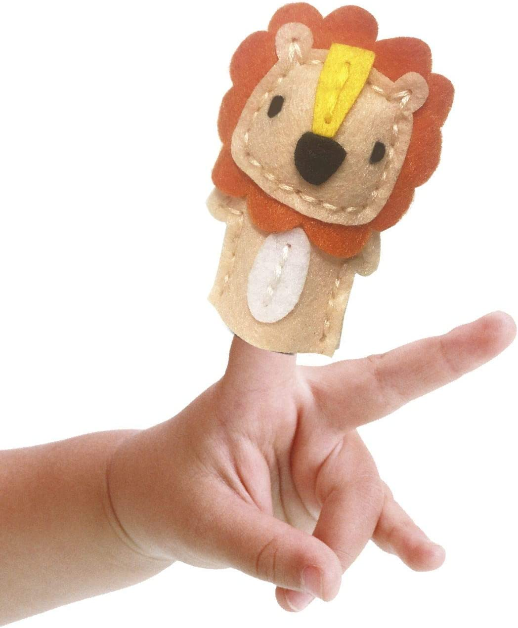 Mammut 164003 Sewing Set Finger Puppet Animal Lion Complete Set with Pre-Cut Felt Fabrics Filling Cotton Yarn Darning Needle and Instructions for Children from 5 Years Multi-Coloured