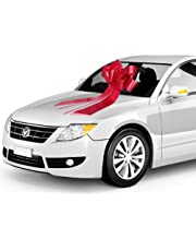 Zoe Deco Red Car Bow for Gift, Large 23 Inch Hood or Windshield Bow, Fancy Textured Ribbon.