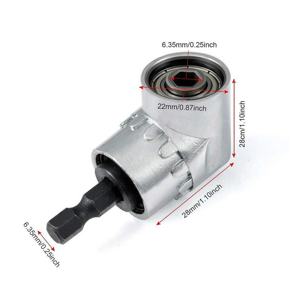 2 en 1 Foret /à angle droit et kit dextension dangle flexible pour foret ou tournevis adaptateur de douille de 1//4