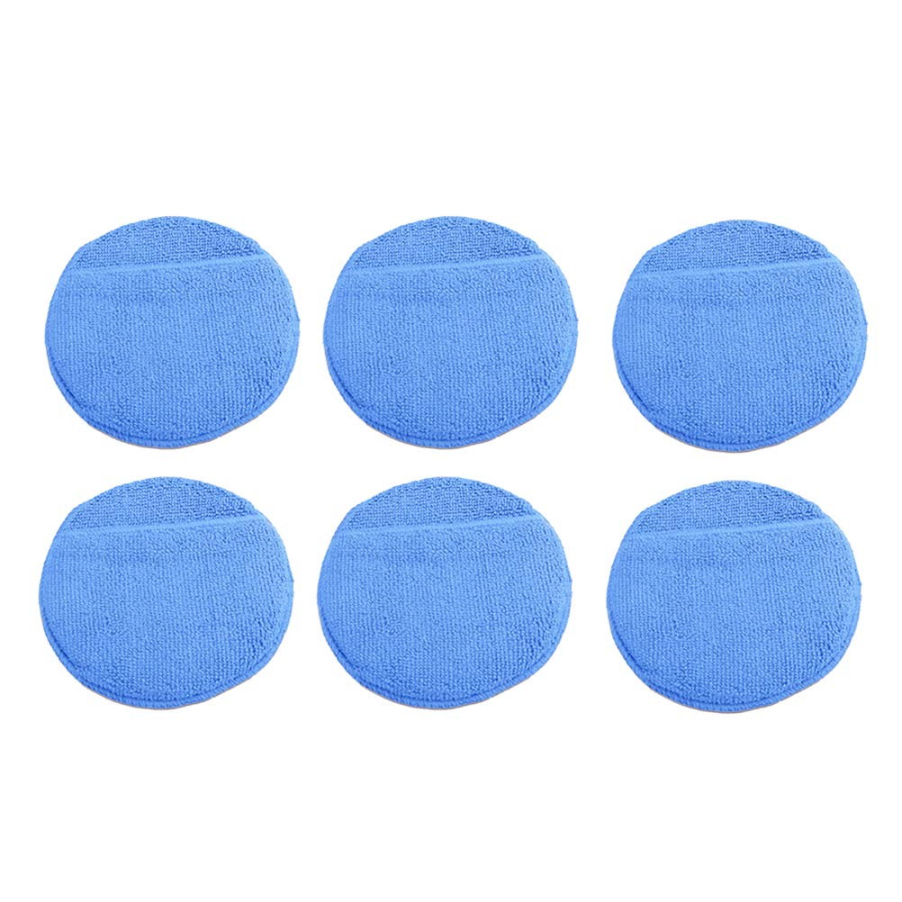 Vosarea 6PCS Car Wax Applicator Pads Microfiber Polishing Sponges Vehicles Care Cleaning 5 Inch (Blue)