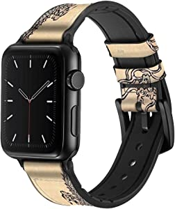 CA0038 Antique Dragon Leather & Silicone Smart Watch Band Strap for Apple Watch iWatch Size 42mm/44mm