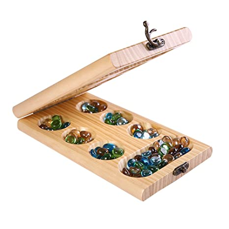 Amazon PlayMaty Wood Folding Mancala Board Game Strategy Game Extraordinary Game With Stones And Wooden Board