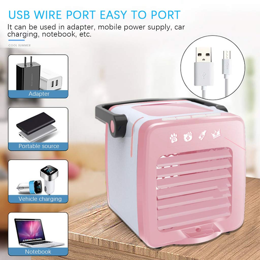 Matoen Multifunction Air Conditioning Fan USB Charging Portable Home Refrigerator Cooler Bedroom Desktop Office Decor (Pink)