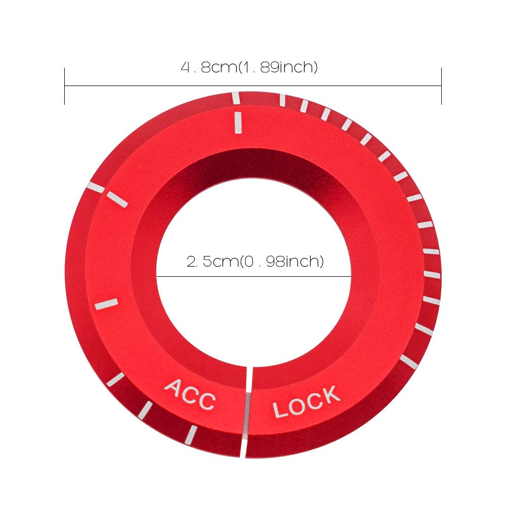 Ceyes Red Engine Ignition Key Starter Cover Sticker Ignition Key Switch Cover Trim Key Hole Surrounding Decoration Trim Sticker for Mercedes Benz A C S CLA Class
