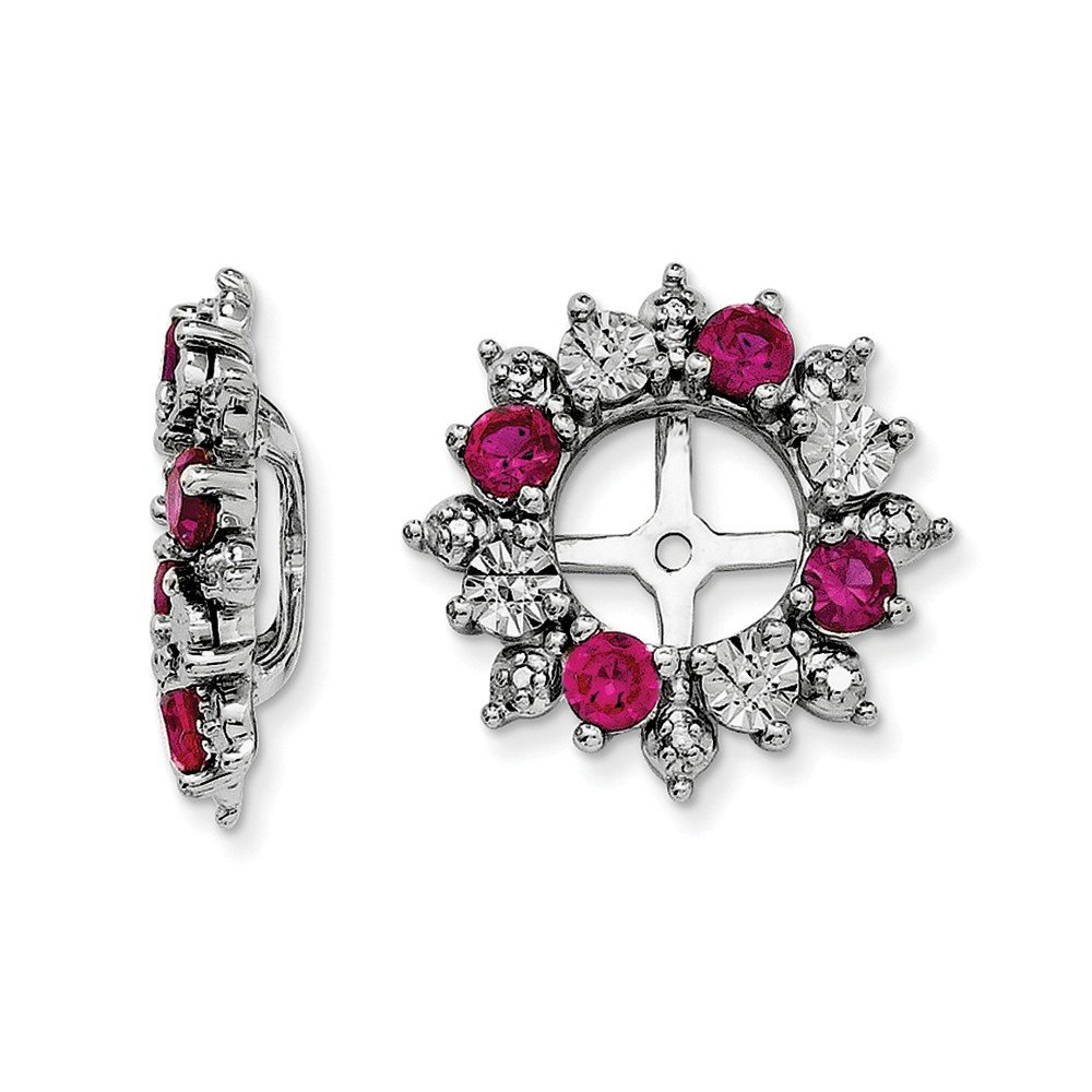 Solid .925 Sterling Silver Created Ruby July Birthstone Earring Jacket 15x15mm