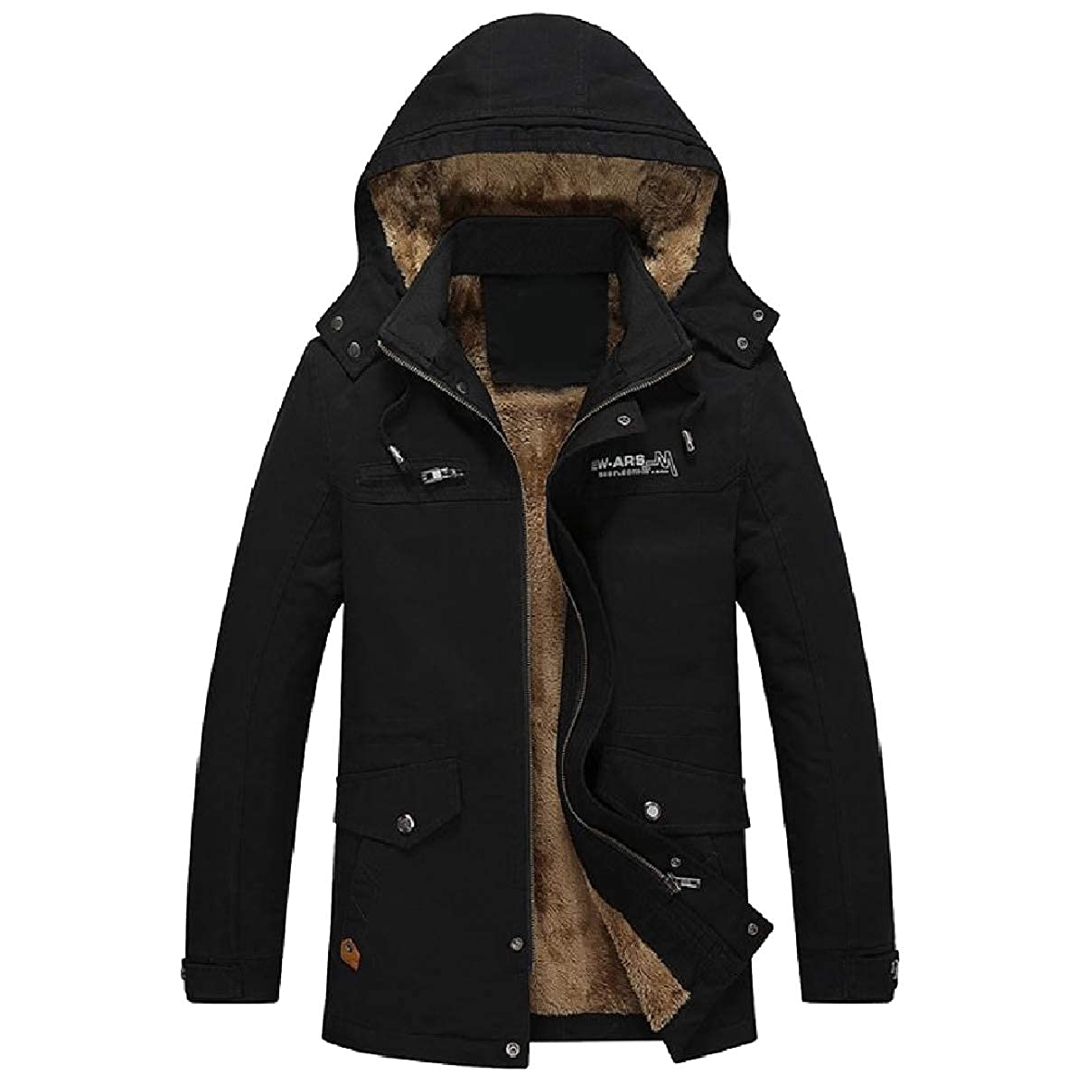 YUNY Mens Sherpa Detachable Hood Hoode Cotton Down Jackets and Coats Black XL