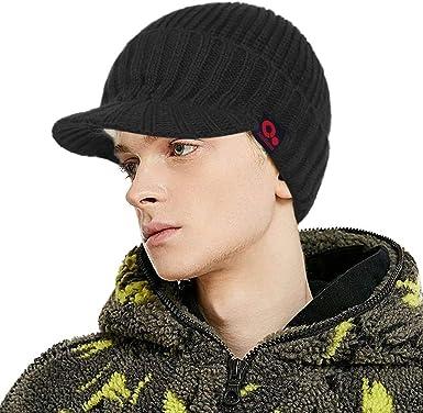 Men Fashion Sports Winter Outdoor Hat Knit Visor Beanie with Brim Cap Navy
