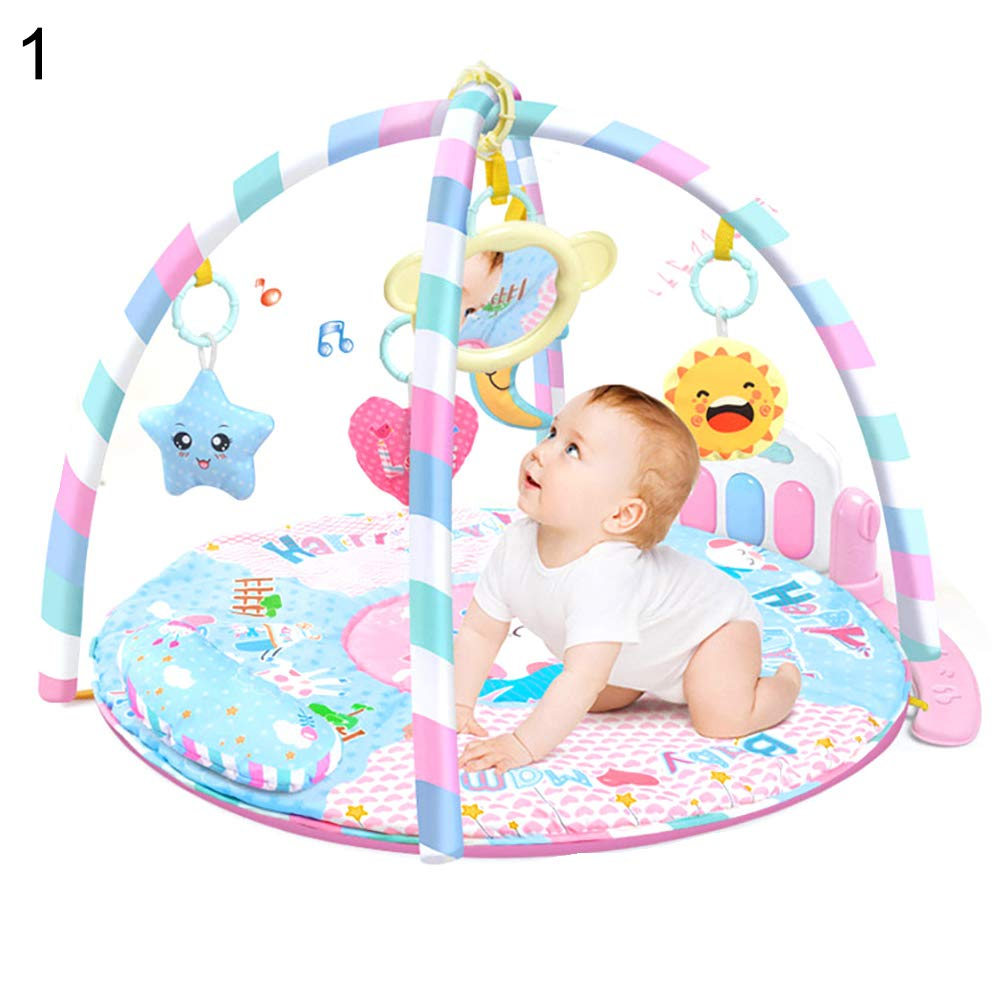 LamicAR Baby Cartoon Cradle Education Toy Fitness Frame Piano Music Blanket Crawling Mat Light Pink by LamicAR (Image #1)